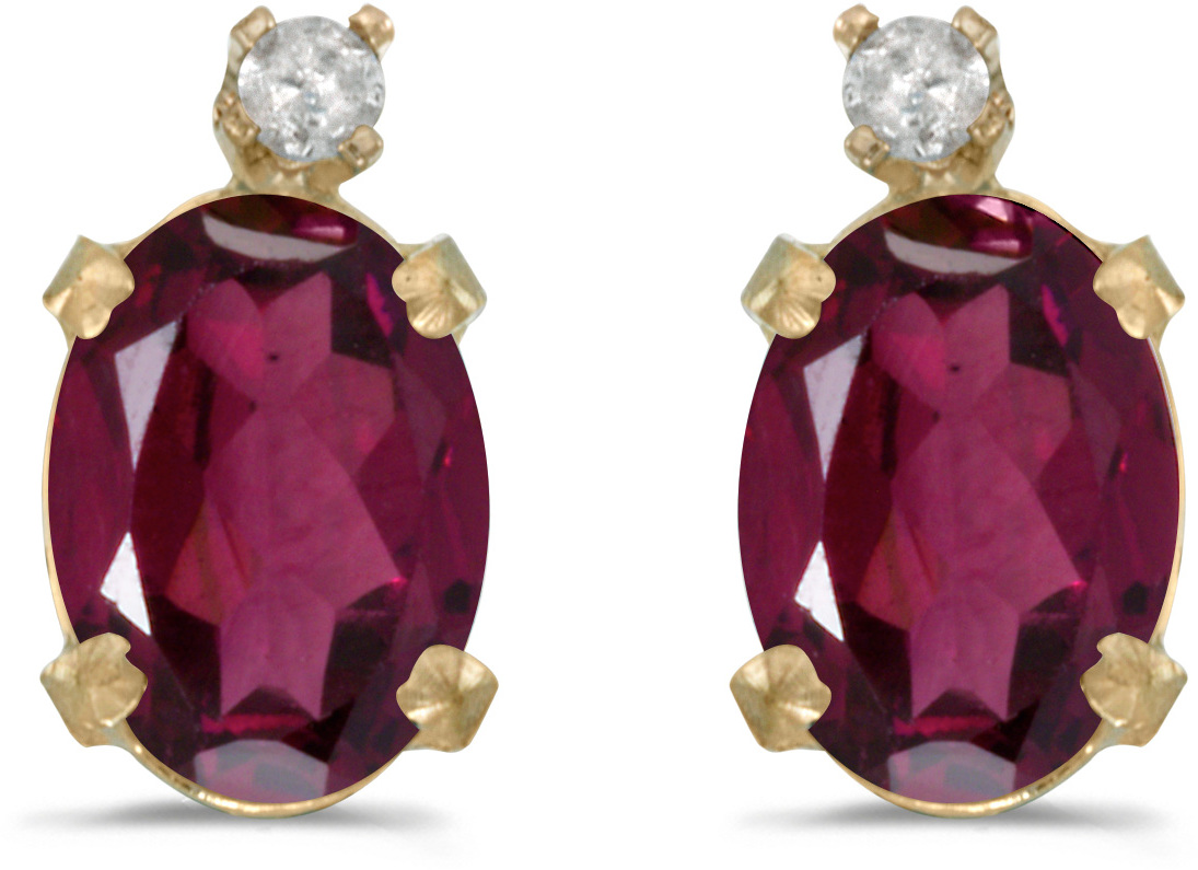 14k Yellow Gold Oval Rhodolite Garnet And Diamond Earrings (CM-E6411X-RG)