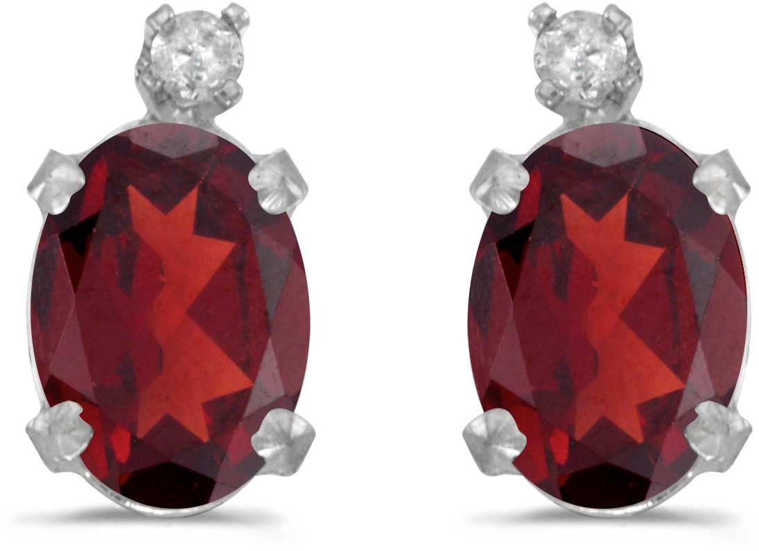 14k White Gold Oval Garnet And Diamond Earrings (CM-E6411XW-01)