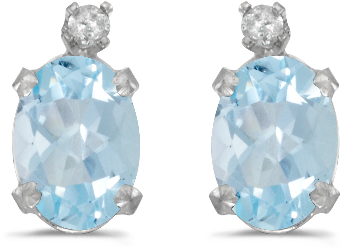 14k White Gold Oval Aquamarine And Diamond Earrings (CM-E6411XW-03)