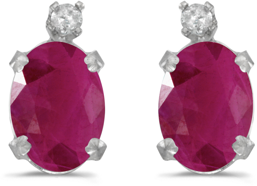 14k White Gold Oval Ruby And Diamond Earrings (CM-E6411XW-07)