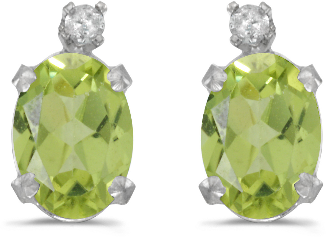 14k White Gold Oval Peridot And Diamond Earrings (CM-E6411XW-08)