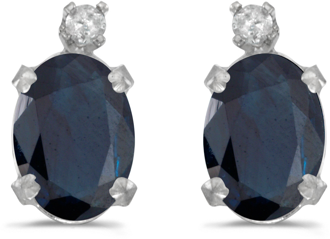 14k White Gold Oval Sapphire And Diamond Earrings (CM-E6411XW-09)