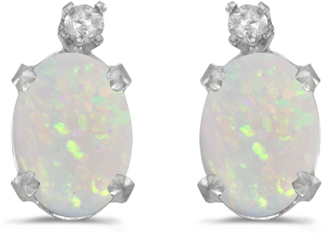 14k White Gold Oval Opal And Diamond Earrings (CM-E6411XW-10)