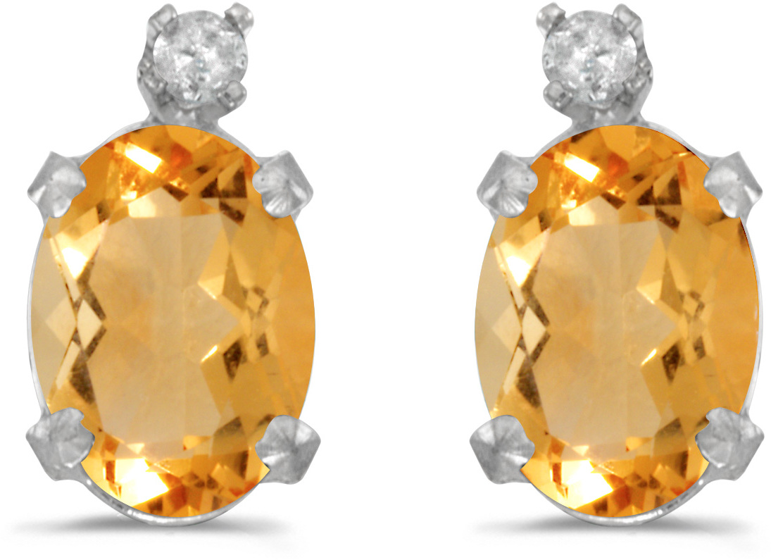 14k White Gold Oval Citrine And Diamond Earrings (CM-E6411XW-11)