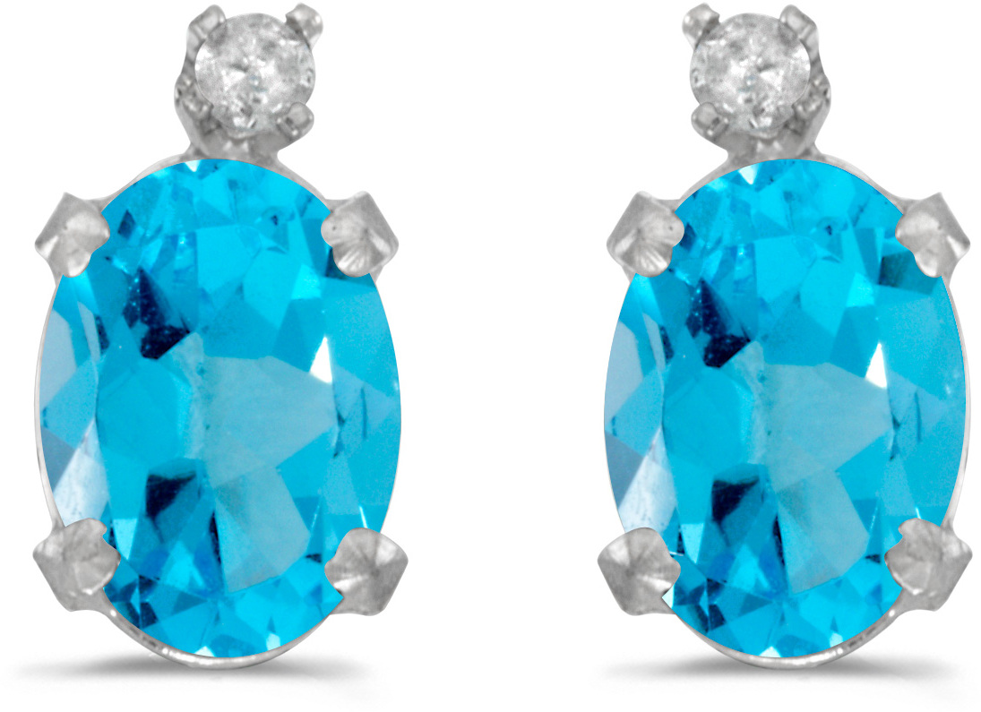 14k White Gold Oval Blue Topaz And Diamond Earrings (CM-E6411XW-12)
