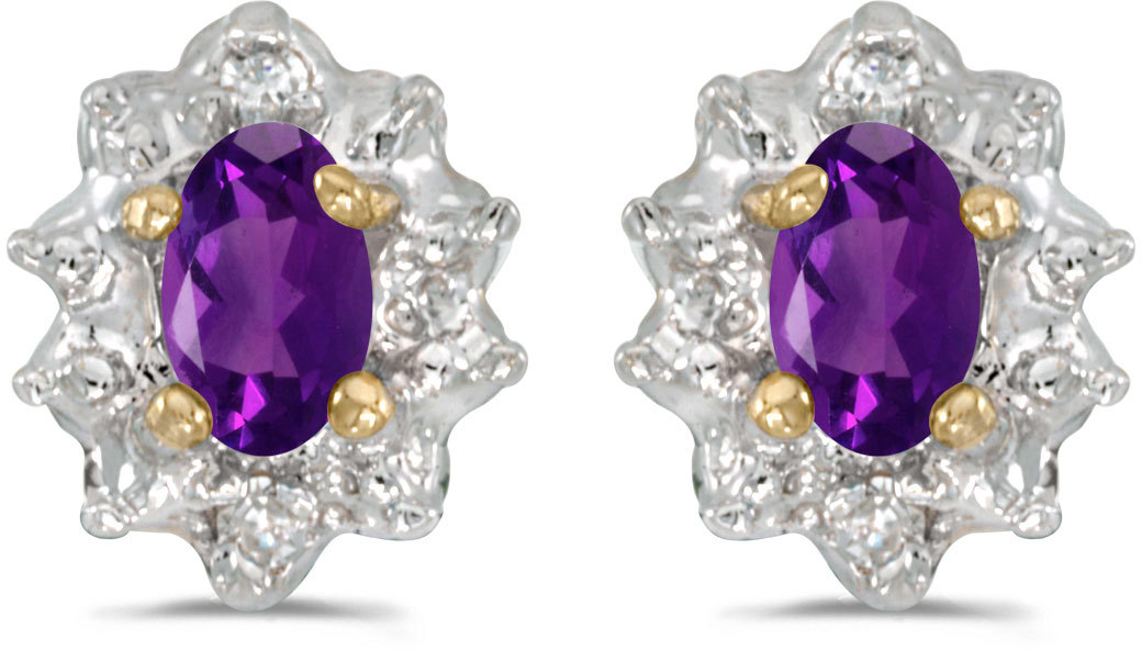 14k Yellow Gold Oval Amethyst And Diamond Earrings (CM-E911X-02)