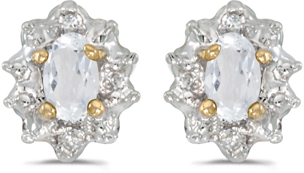 14k Yellow Gold Oval White Topaz And Diamond Earrings (CM-E911X-04)