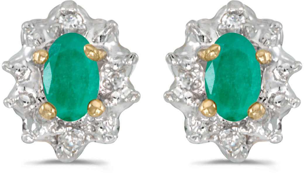 14k Yellow Gold Oval Emerald And Diamond Earrings (CM-E911X-05)