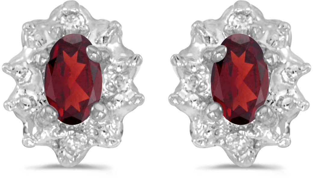 14k White Gold Oval Garnet And Diamond Earrings (CM-E911XW-01)