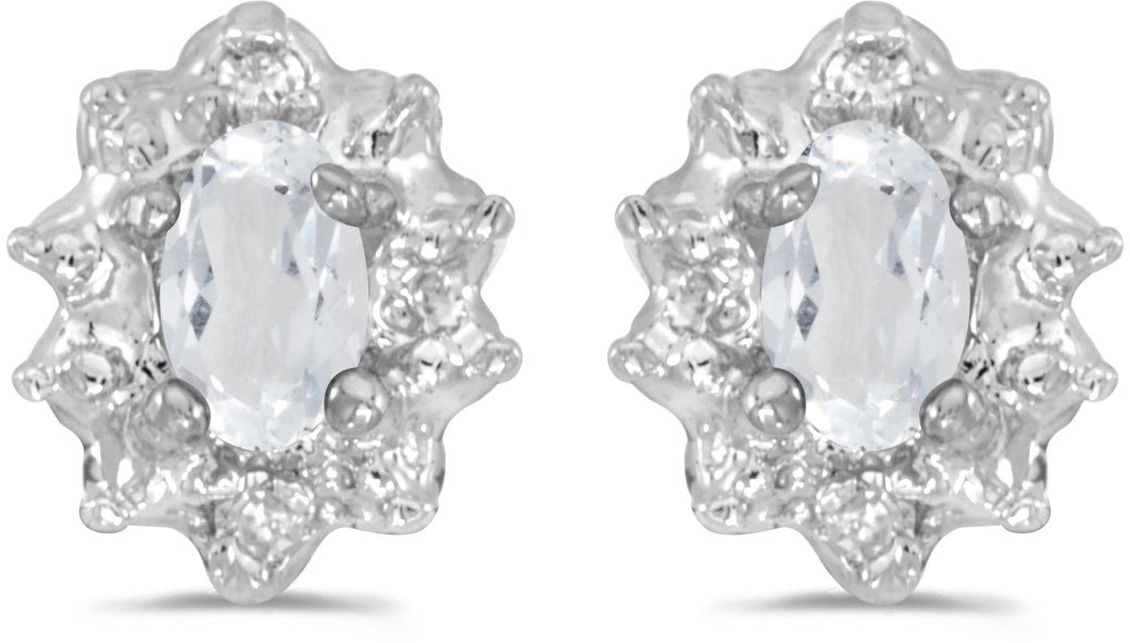14k White Gold Oval White Topaz And Diamond Earrings (CM-E911XW-04)