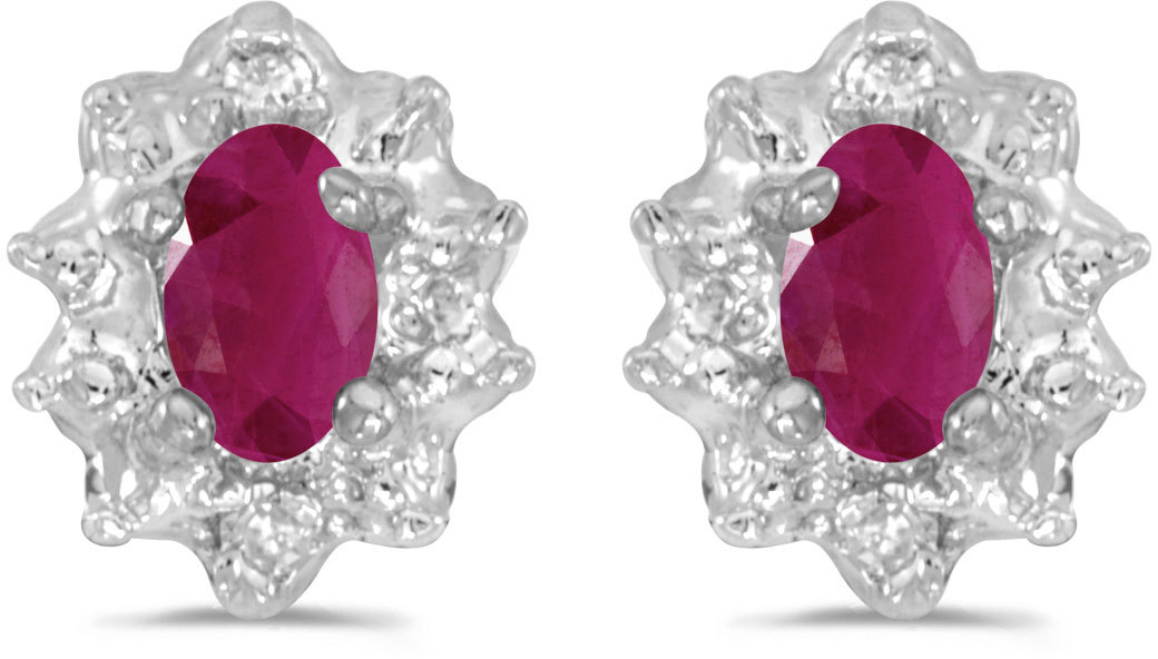 14k White Gold Oval Ruby And Diamond Earrings (CM-E911XW-07)