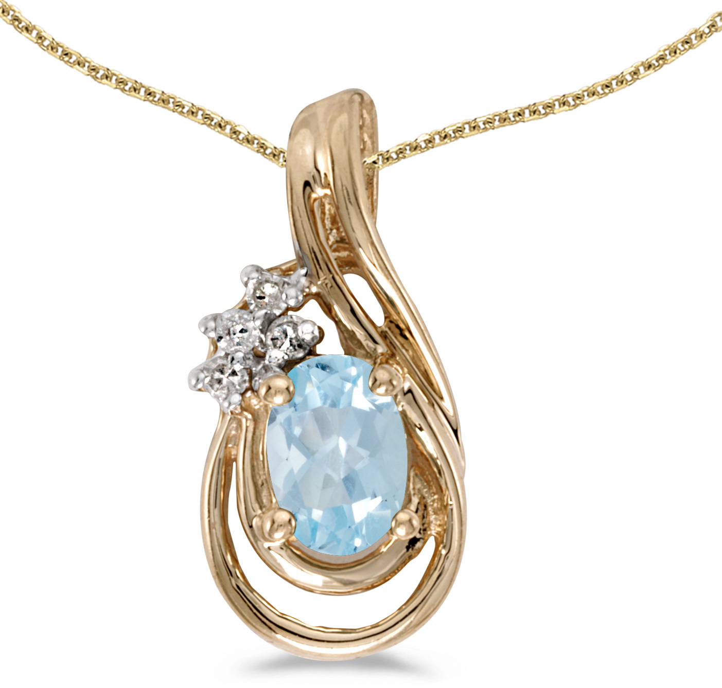 14k Yellow Gold Oval Aquamarine And Diamond Teardrop Pendant (Chain NOT included)