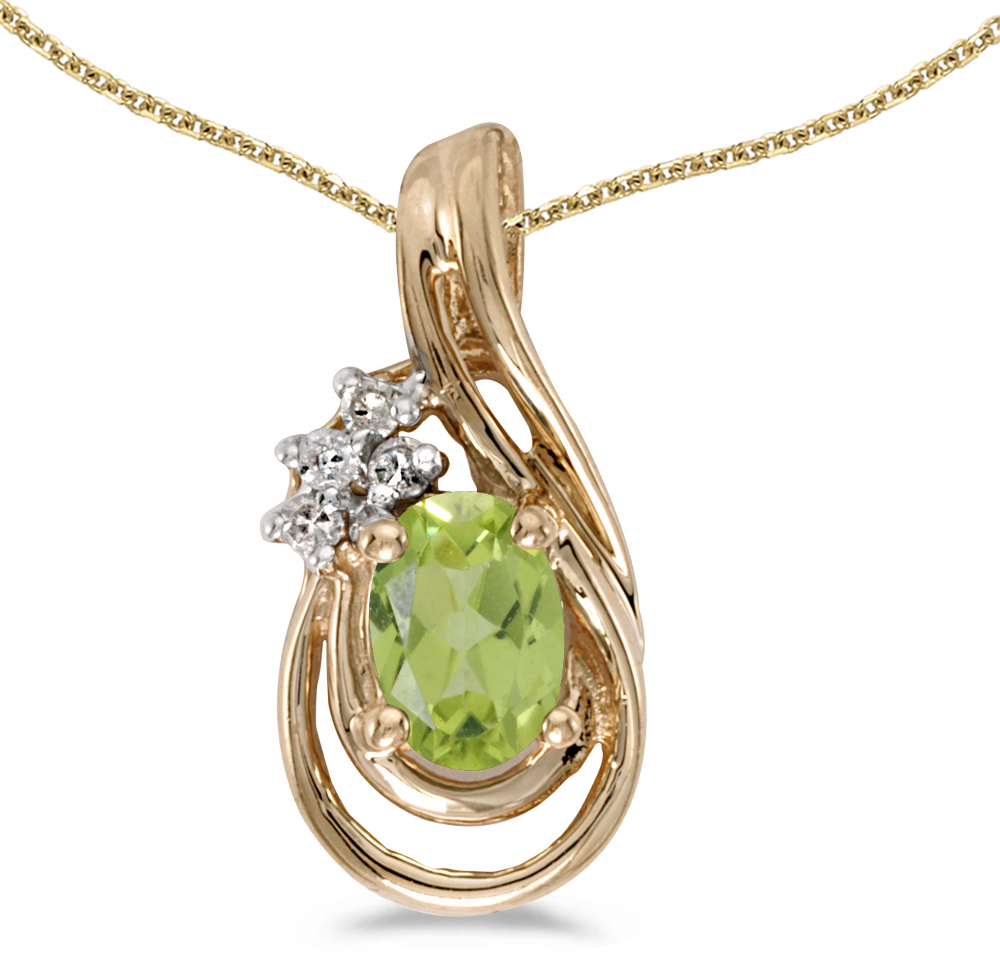 14k Yellow Gold Oval Peridot And Diamond Teardrop Pendant (Chain NOT included)