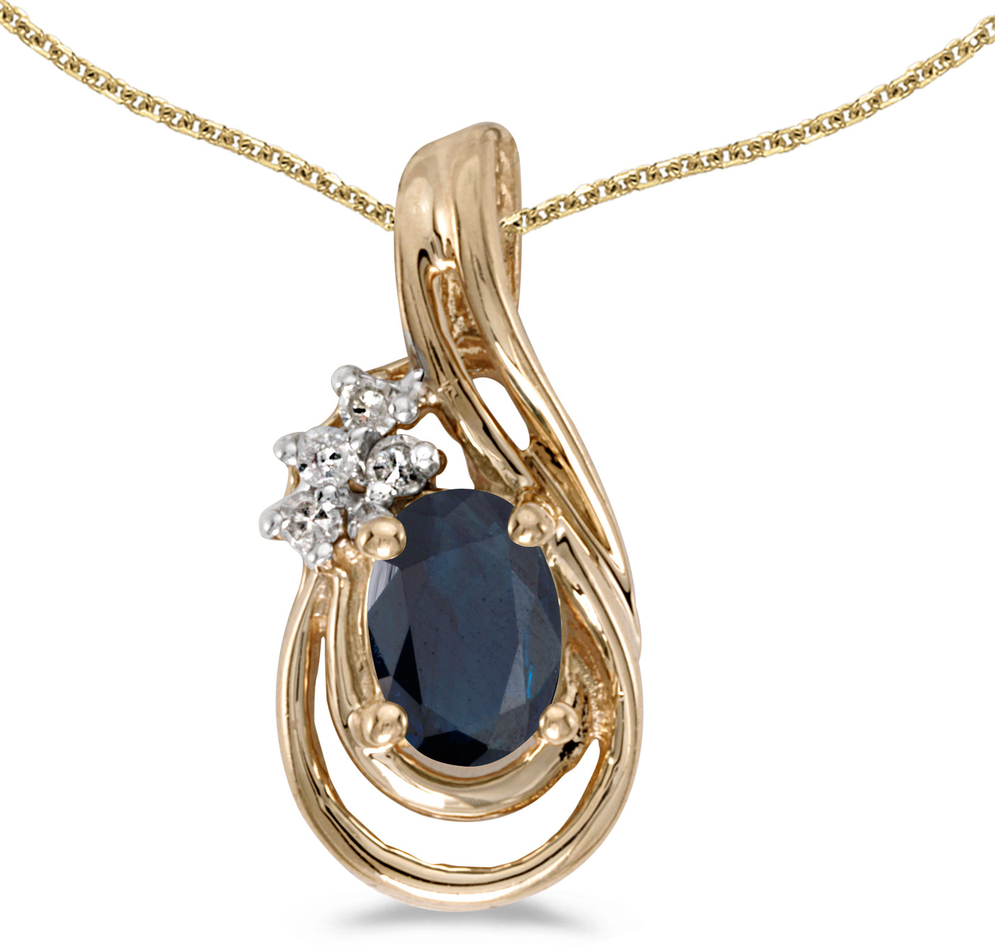 14k Yellow Gold Oval Sapphire And Diamond Teardrop Pendant (Chain NOT included)