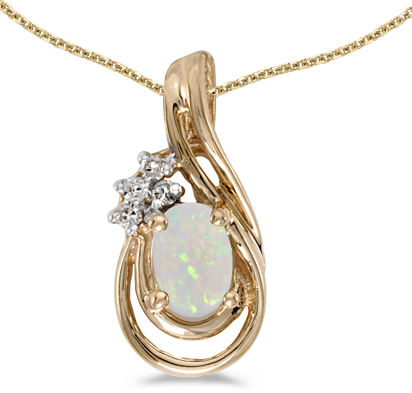 14k Yellow Gold Oval Opal And Diamond Teardrop Pendant (Chain NOT included)