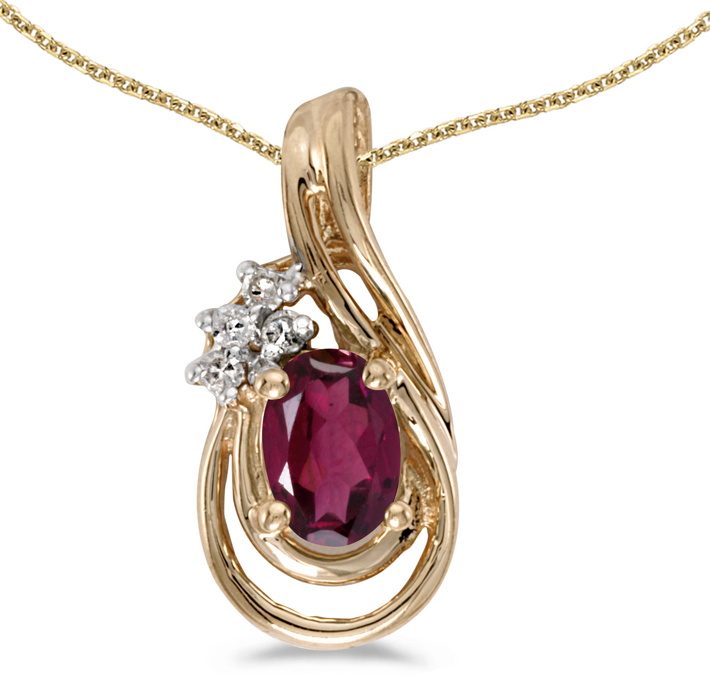 14k Yellow Gold Oval Rhodolite Garnet And Diamond Teardrop Pendant (Chain NOT included)