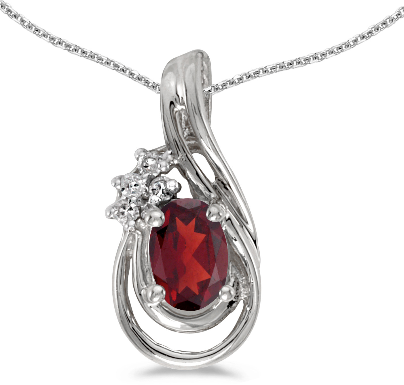 14k White Gold Oval Garnet And Diamond Teardrop Pendant (Chain NOT included)