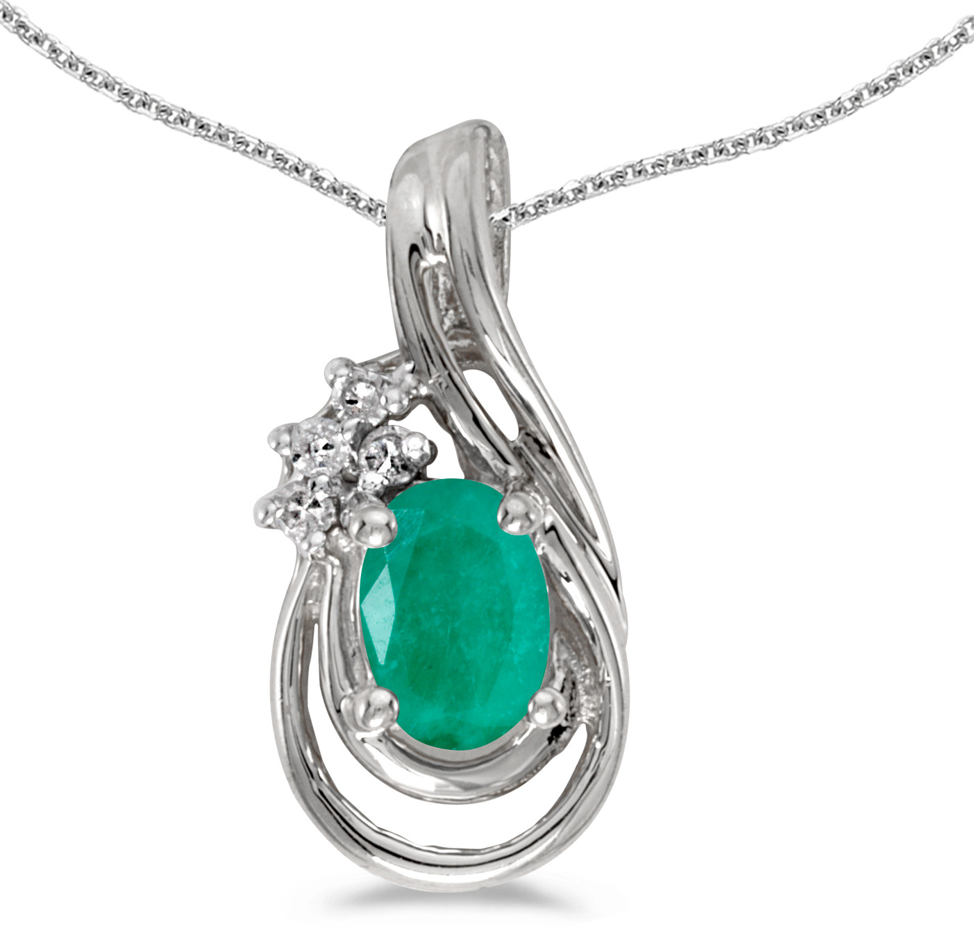 14k White Gold Oval Emerald And Diamond Teardrop Pendant (Chain NOT included)
