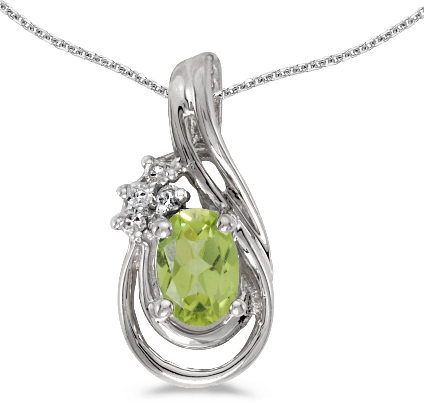 14k White Gold Oval Peridot And Diamond Teardrop Pendant (Chain NOT included)