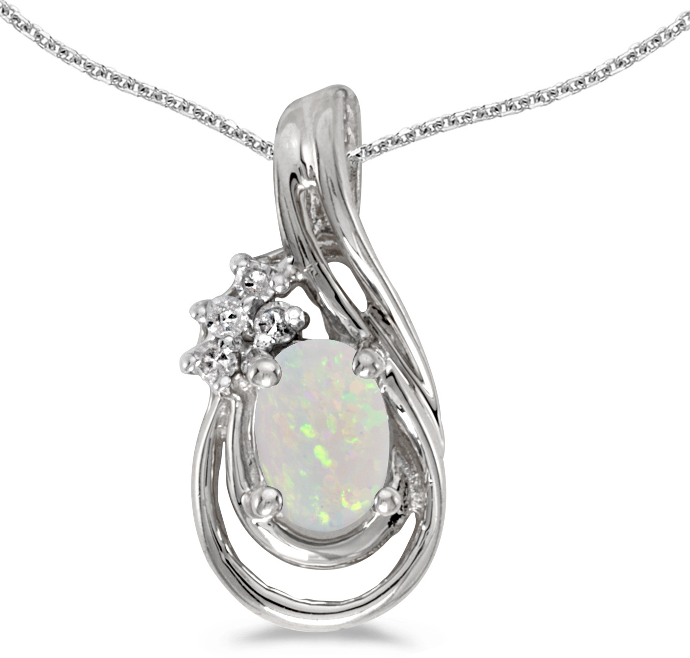 14k White Gold Oval Opal And Diamond Teardrop Pendant (Chain NOT included)