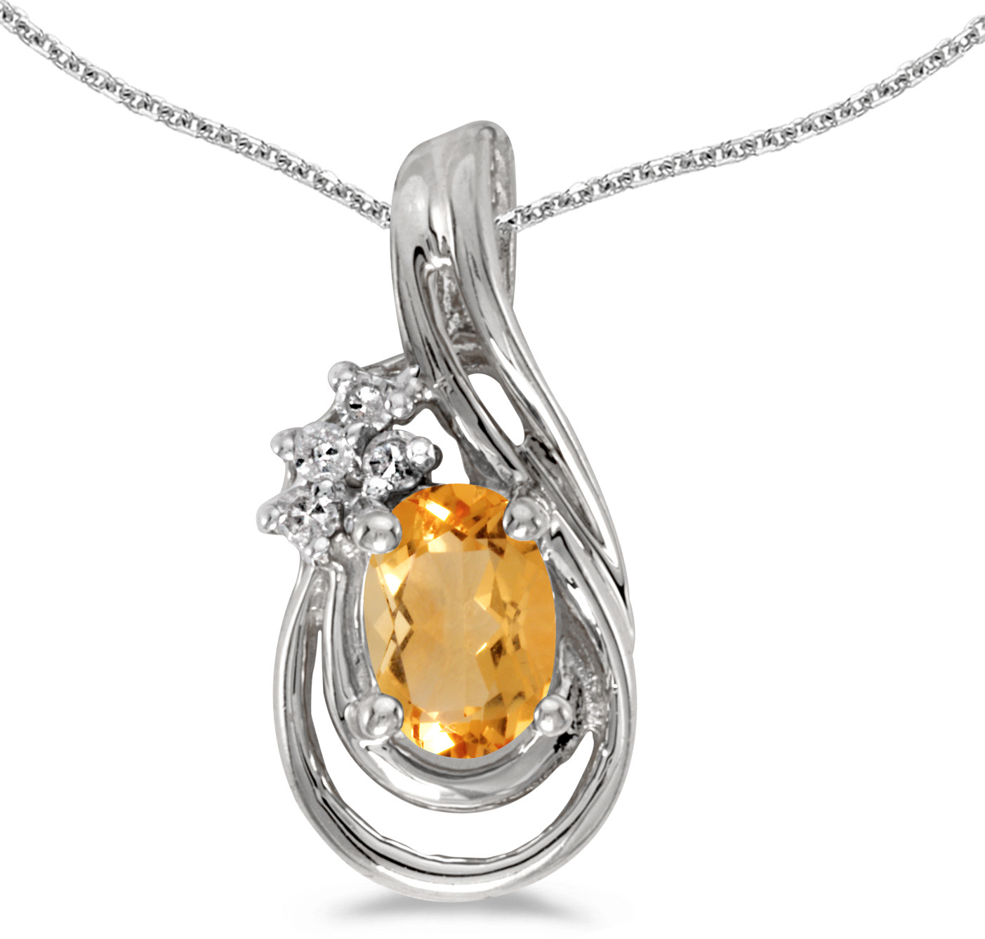14k White Gold Oval Citrine And Diamond Teardrop Pendant (Chain NOT included)