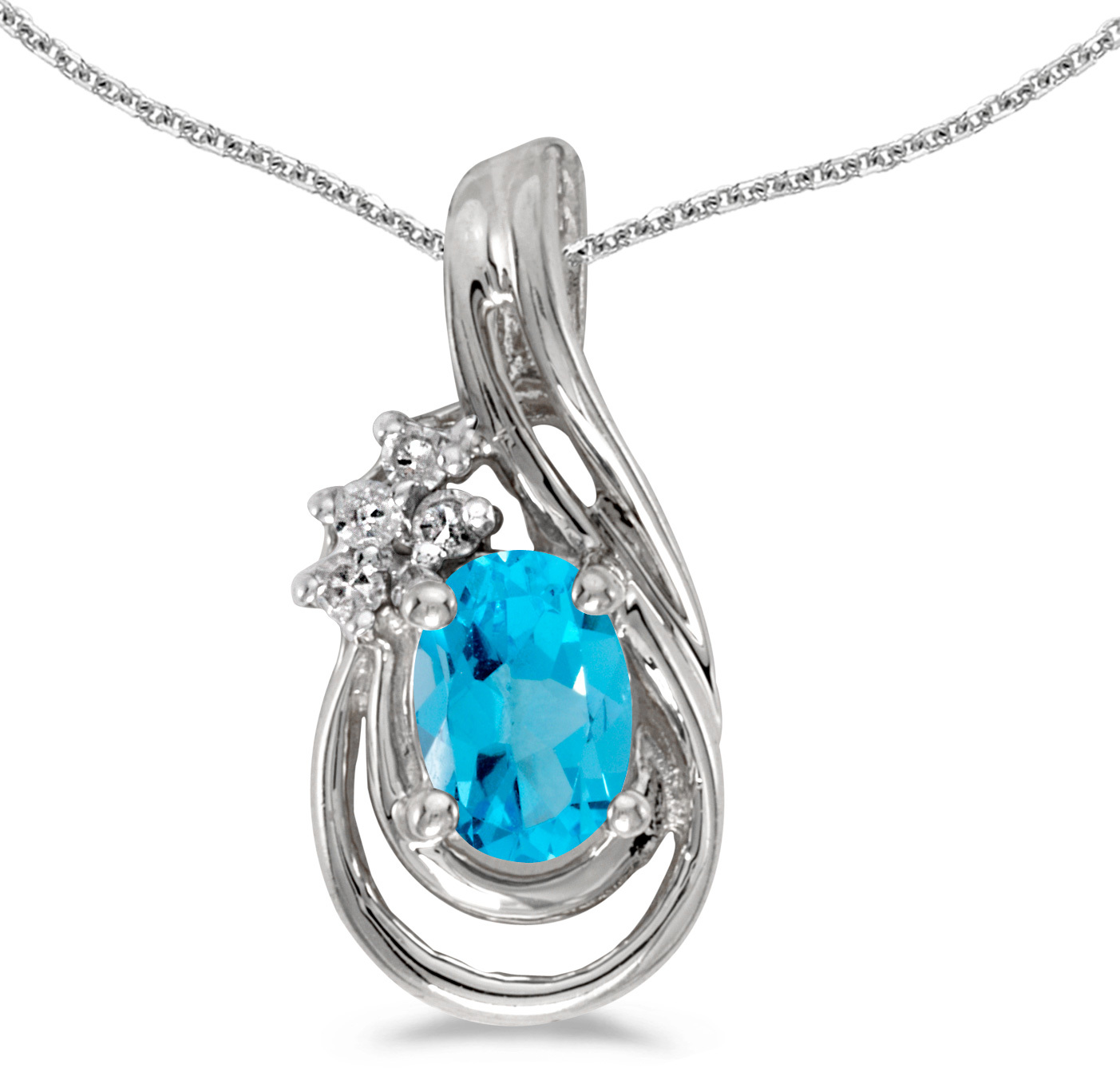 14k White Gold Oval Blue Topaz And Diamond Teardrop Pendant (Chain NOT included)