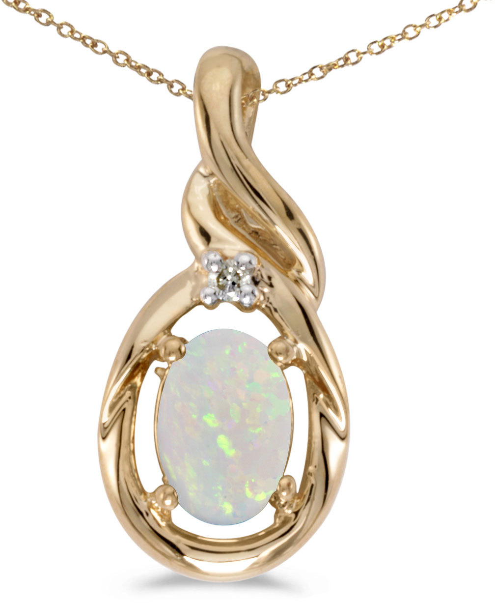 14k Yellow Gold Oval Opal And Diamond Pendant (Chain NOT included) (CM-P1241X-10)