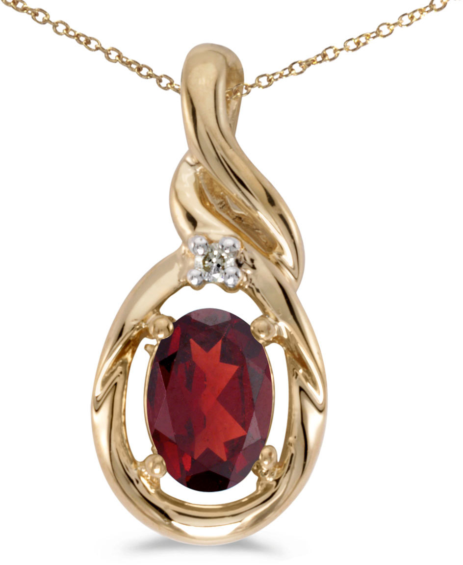 14k Yellow Gold Oval Garnet And Diamond Pendant (Chain NOT included) (CM-P1241X-01)