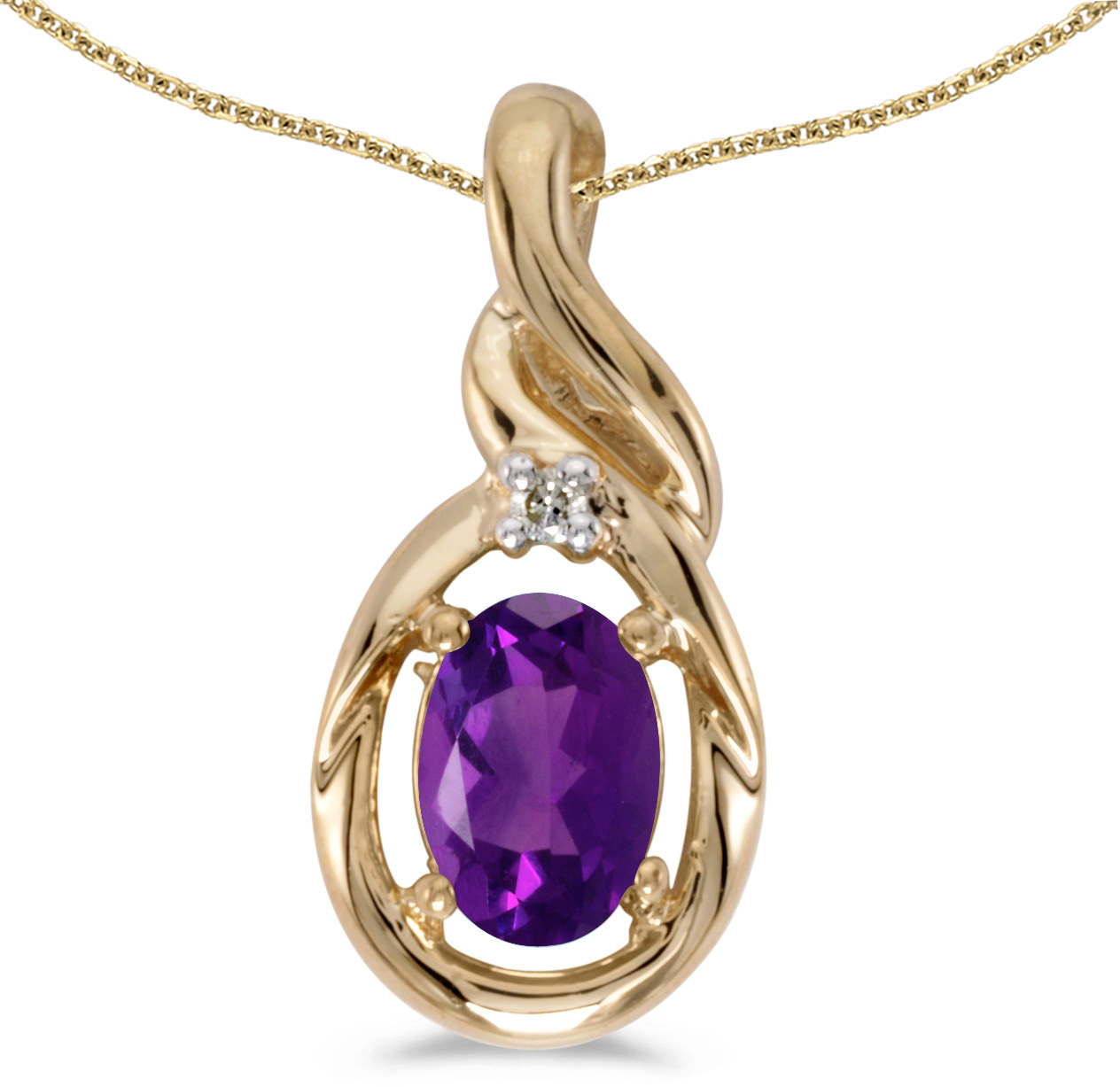 14k Yellow Gold Oval Amethyst And Diamond Pendant (Chain NOT included) (CM-P1241X-02)