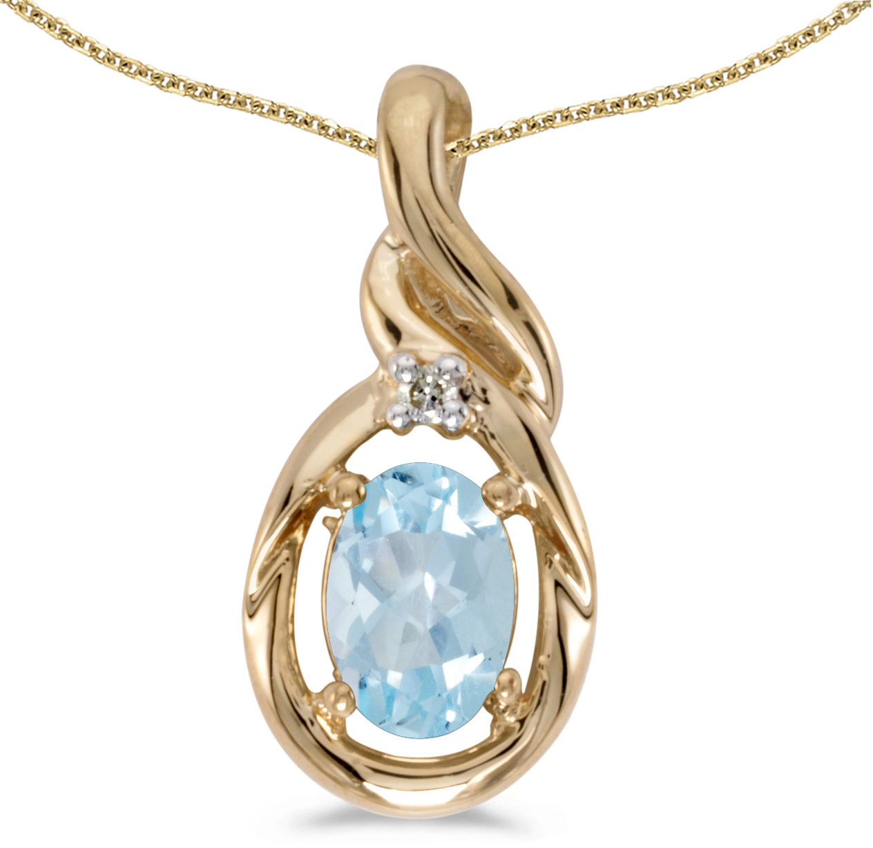14k Yellow Gold Oval Aquamarine And Diamond Pendant (Chain NOT included) (CM-P1241X-03)