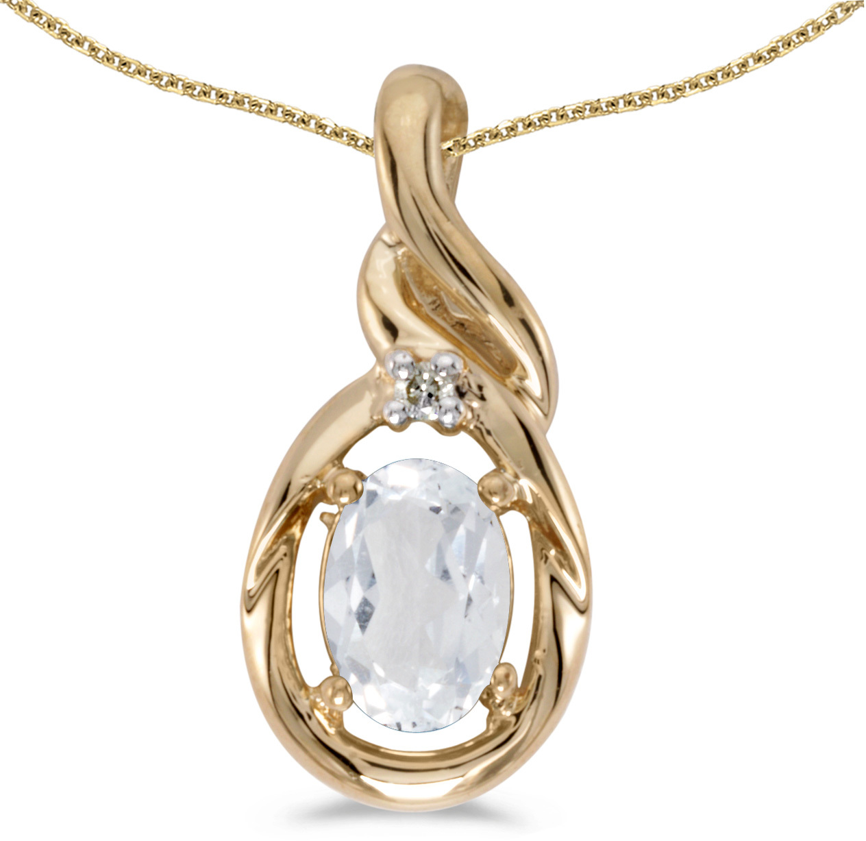 14k Yellow Gold Oval White Topaz And Diamond Pendant (Chain NOT included) (CM-P1241X-04)