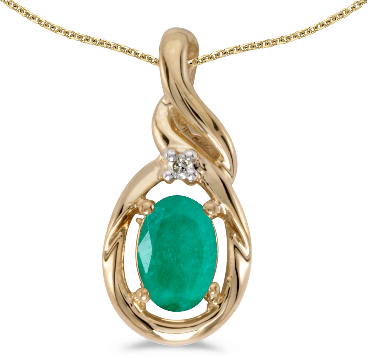 14k Yellow Gold Oval Emerald And Diamond Pendant (Chain NOT included) (CM-P1241X-05)