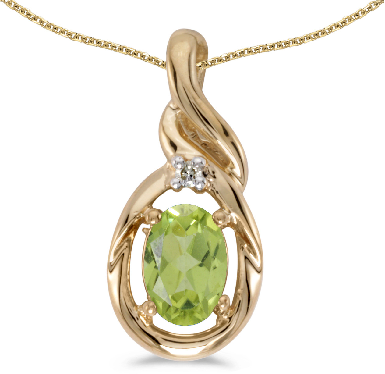 14k Yellow Gold Oval Peridot And Diamond Pendant (Chain NOT included) (CM-P1241X-08)
