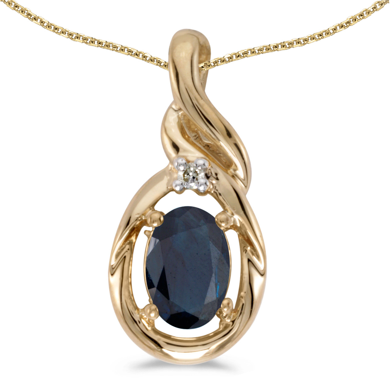 14k Yellow Gold Oval Sapphire And Diamond Pendant (Chain NOT included) (CM-P1241X-09)