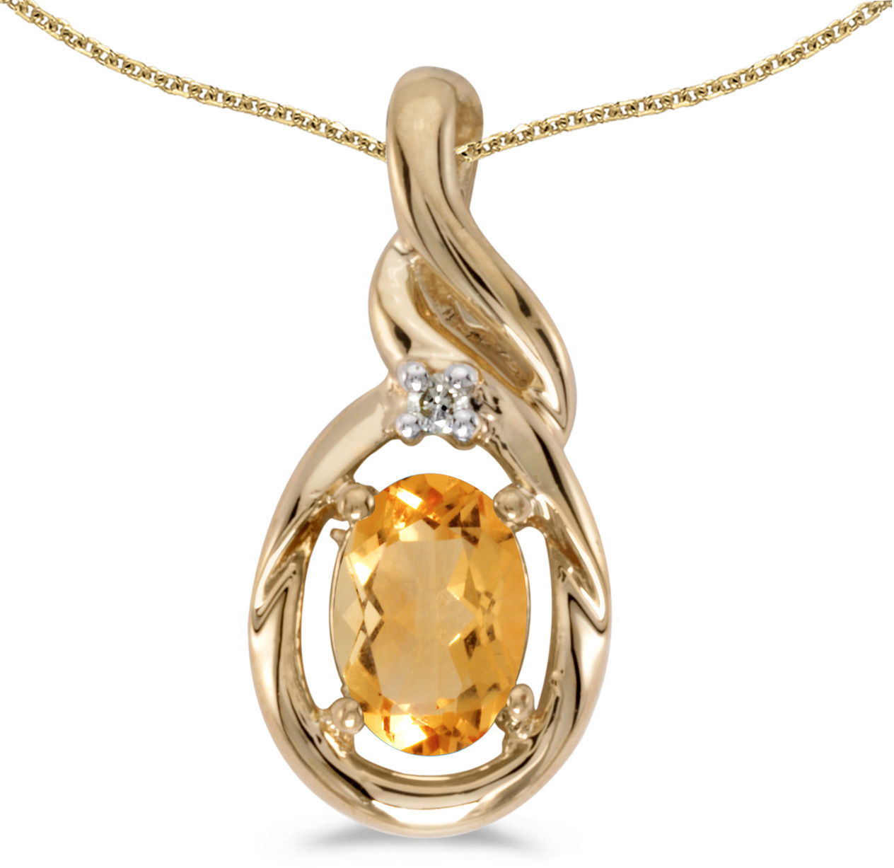 14k Yellow Gold Oval Citrine And Diamond Pendant (Chain NOT included) (CM-P1241X-11)
