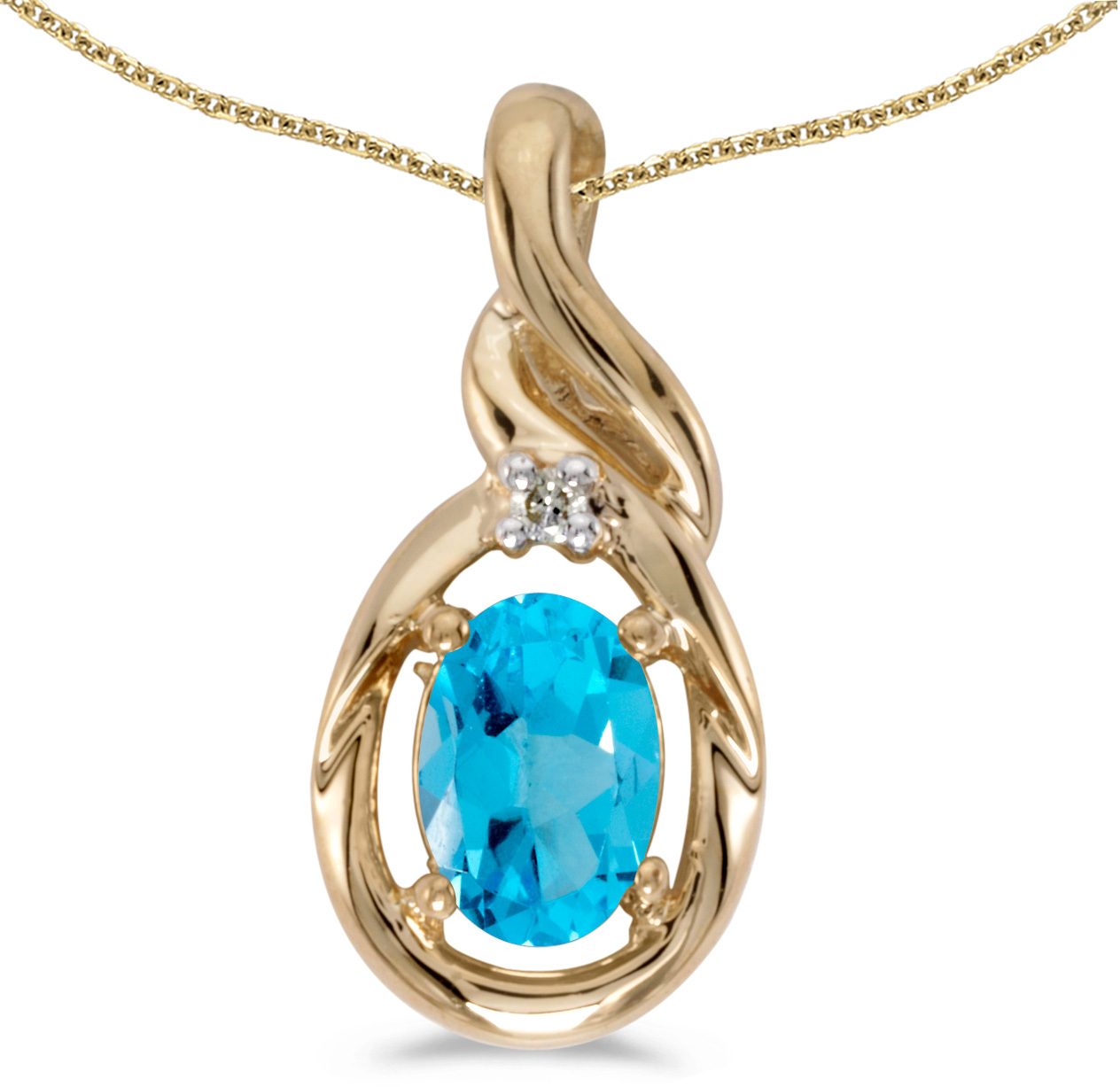 14k Yellow Gold Oval Blue Topaz And Diamond Pendant (Chain NOT included) (CM-P1241X-12)