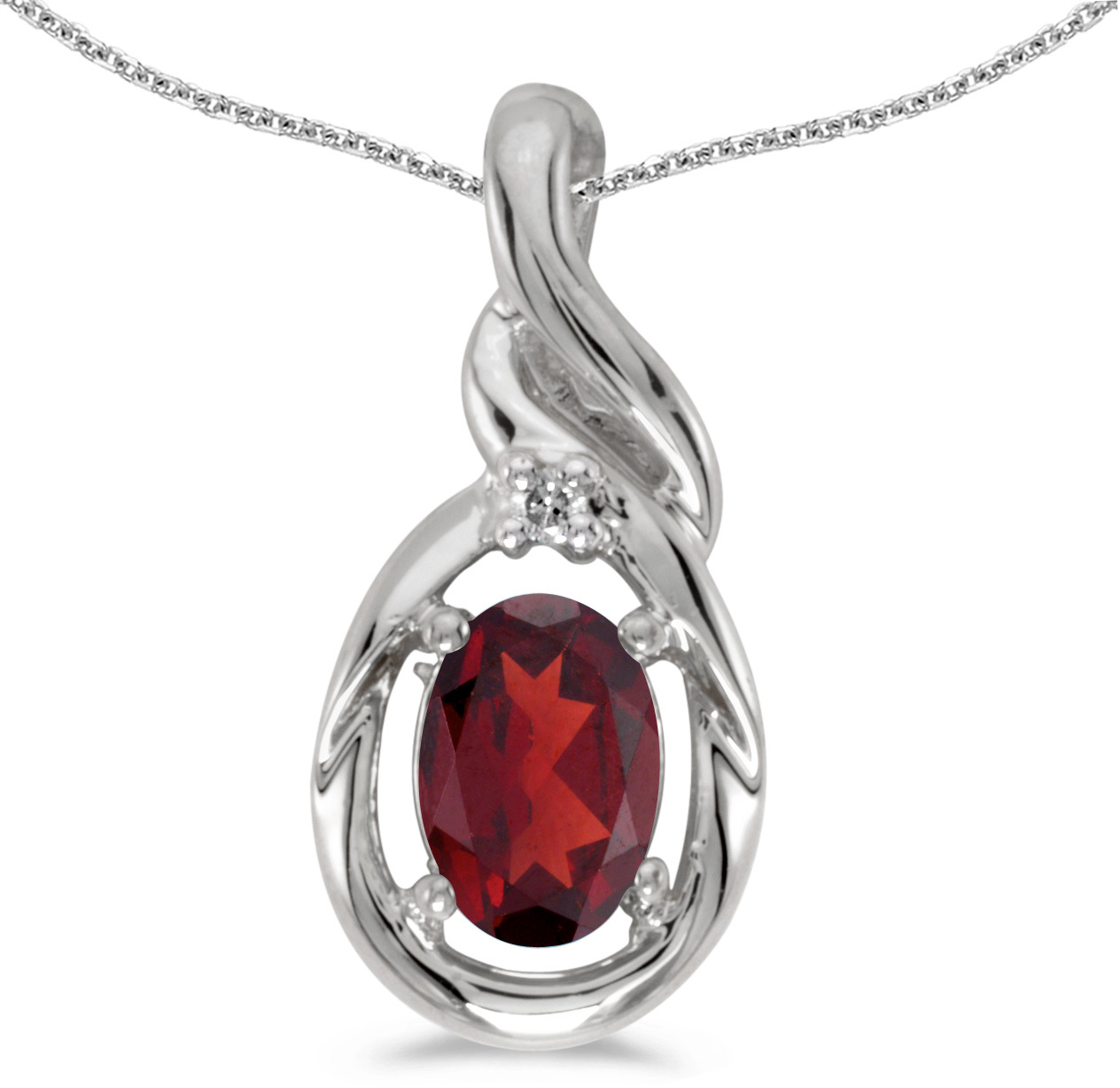 14k White Gold Oval Garnet And Diamond Pendant (Chain NOT included) (CM-P1241XW-01)