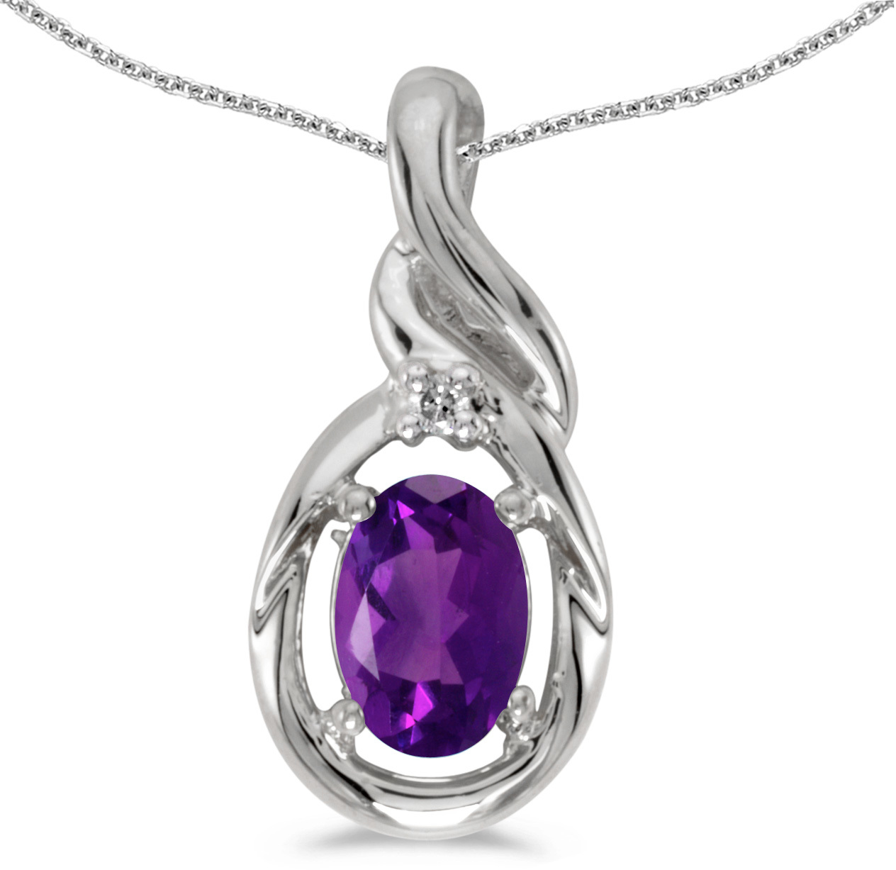 14k White Gold Oval Amethyst And Diamond Pendant (Chain NOT included) (CM-P1241XW-02)