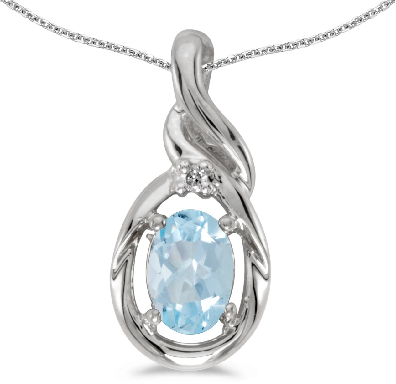14k White Gold Oval Aquamarine And Diamond Pendant (Chain NOT included) (CM-P1241XW-03)