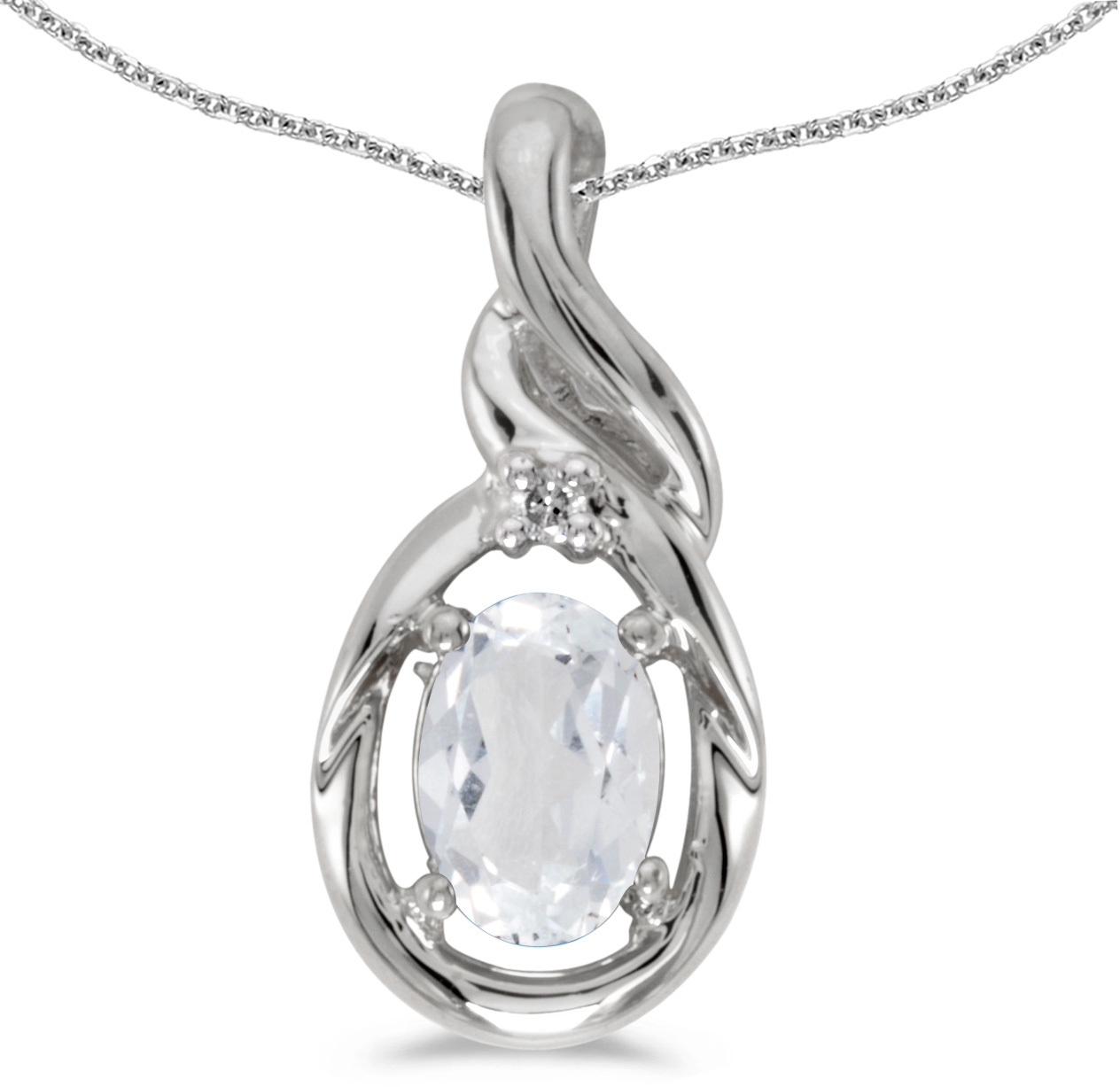 14k White Gold Oval White Topaz And Diamond Pendant (Chain NOT included) (CM-P1241XW-04)