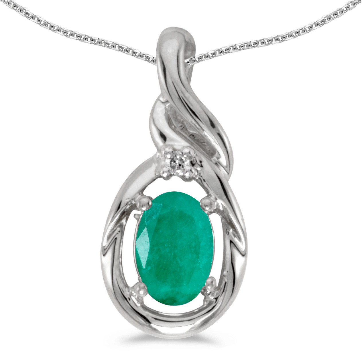 14k White Gold Oval Emerald And Diamond Pendant (Chain NOT included) (CM-P1241XW-05)