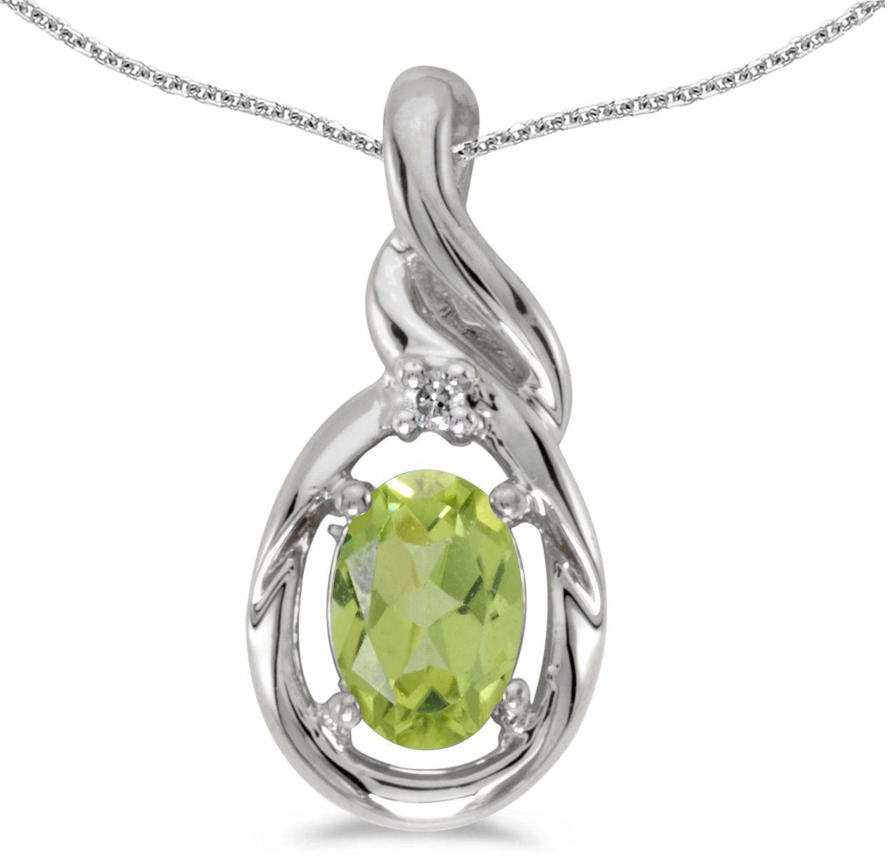 14k White Gold Oval Peridot And Diamond Pendant (Chain NOT included) (CM-P1241XW-08)