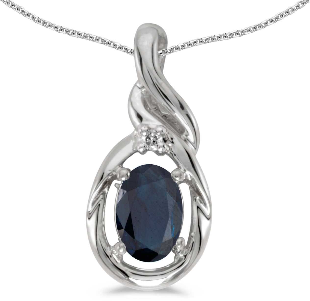 14k White Gold Oval Sapphire And Diamond Pendant (Chain NOT included) (CM-P1241XW-09)