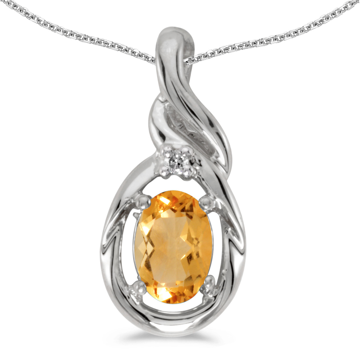 14k White Gold Oval Citrine And Diamond Pendant (Chain NOT included) (CM-P1241XW-11)
