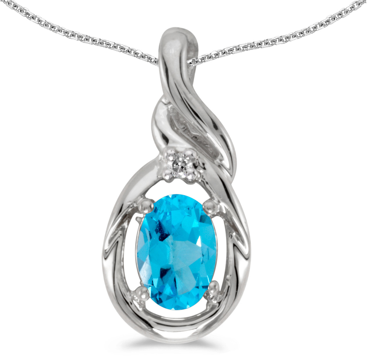 14k White Gold Oval Blue Topaz And Diamond Pendant (Chain NOT included) (CM-P1241XW-12)
