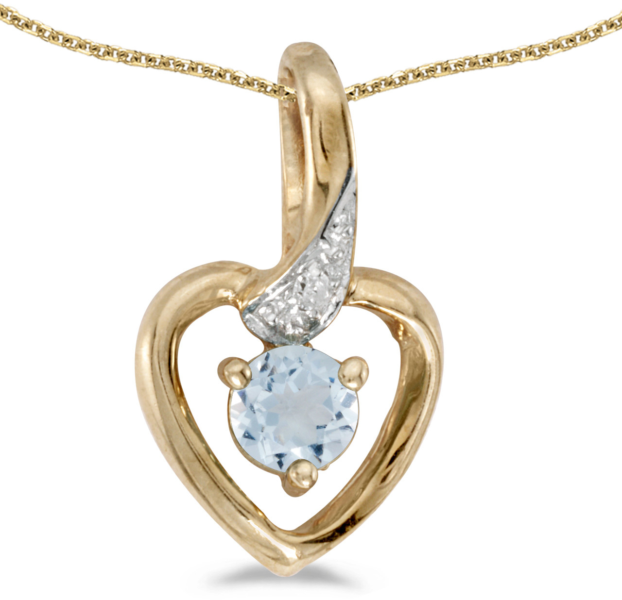 10k Yellow Gold Round Aquamarine And Diamond Heart Pendant (Chain NOT included)