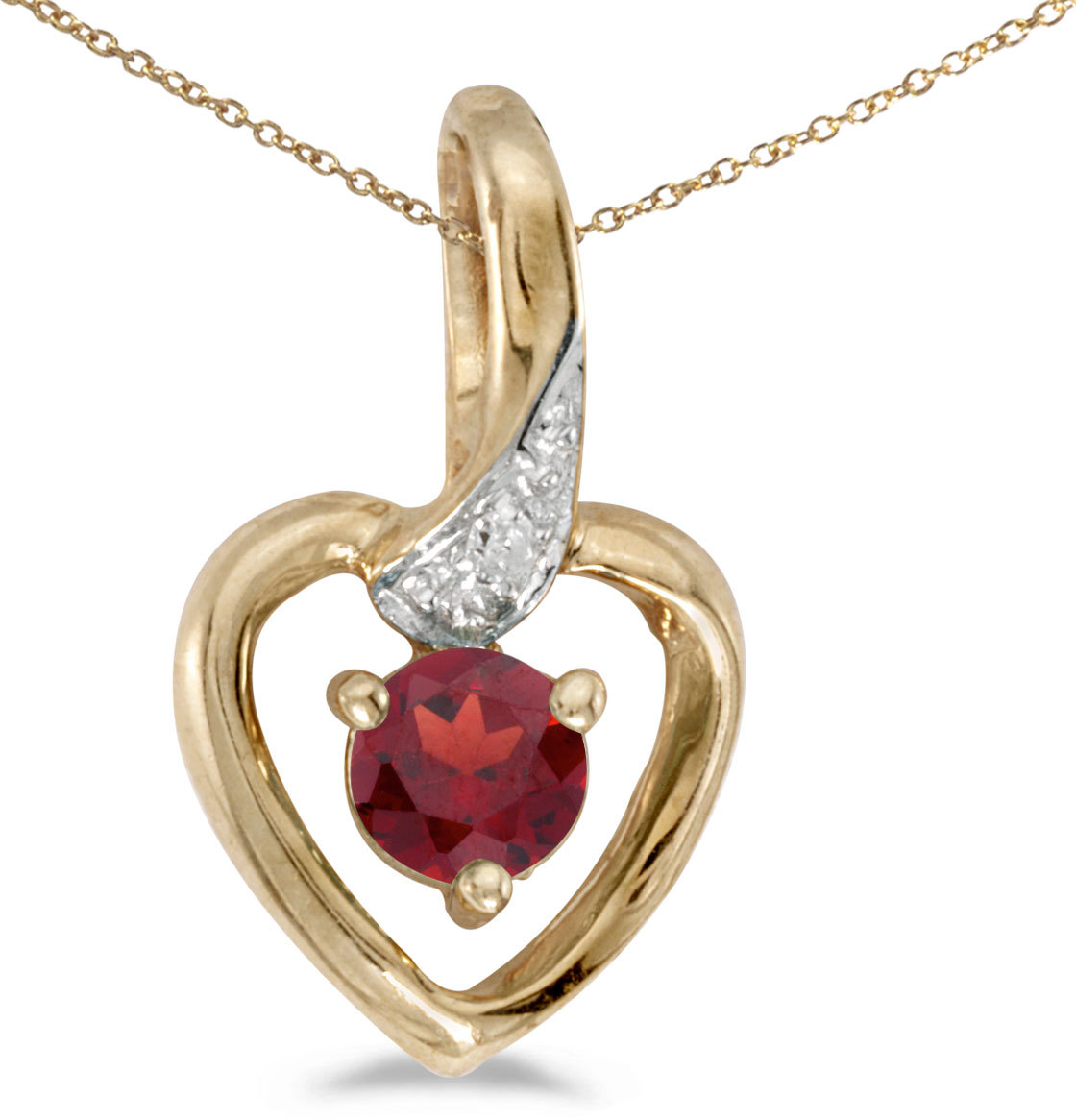 14k Yellow Gold Round Garnet And Diamond Heart Pendant (Chain NOT included)