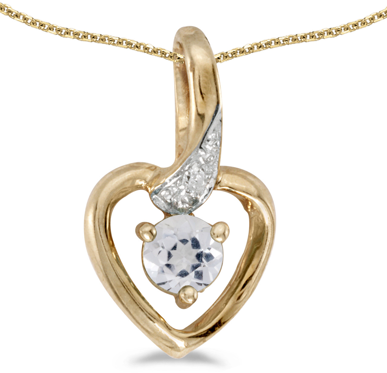 14k Yellow Gold Round White Topaz And Diamond Heart Pendant (Chain NOT included)