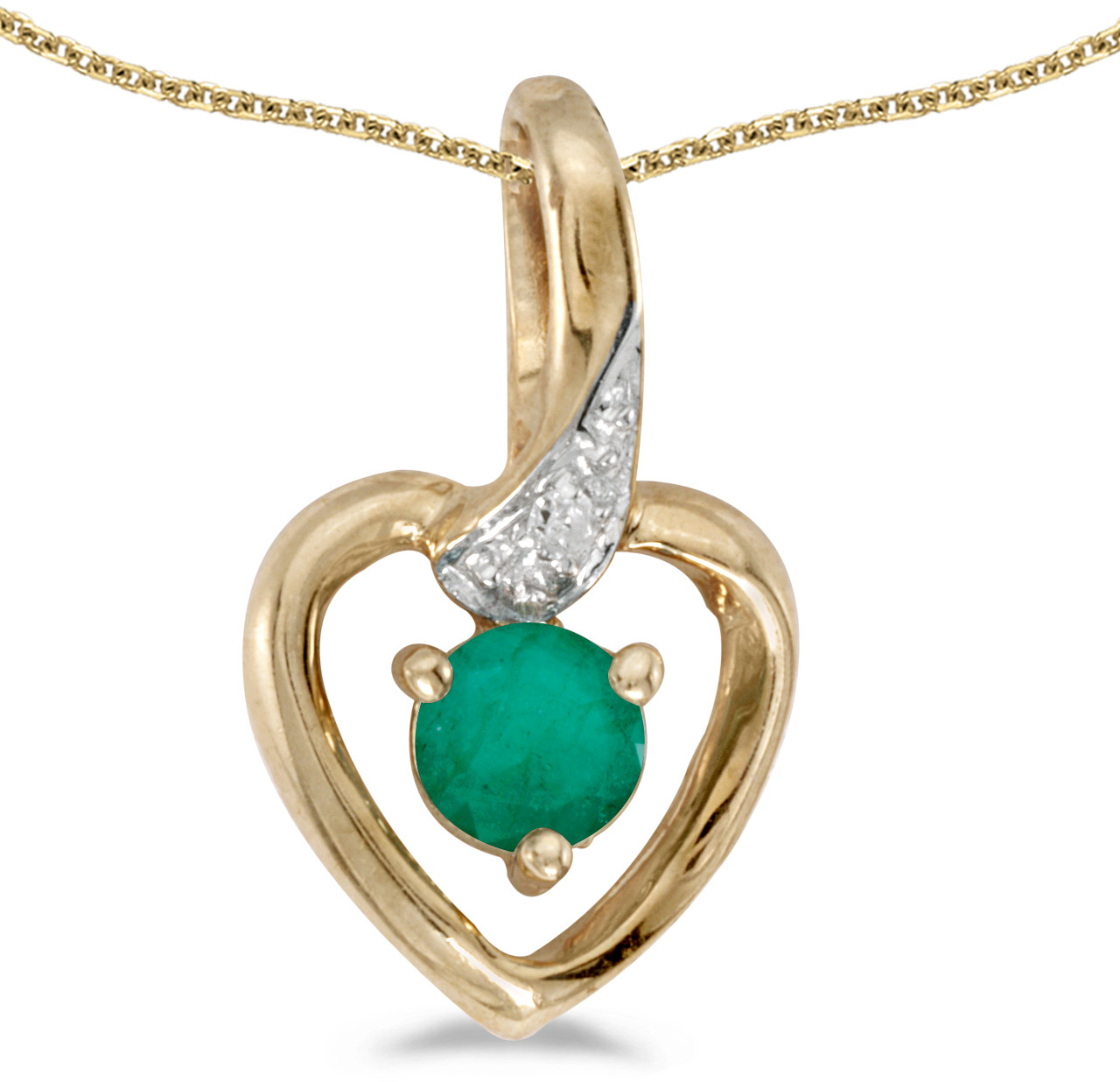 14k Yellow Gold Round Emerald And Diamond Heart Pendant (Chain NOT included)