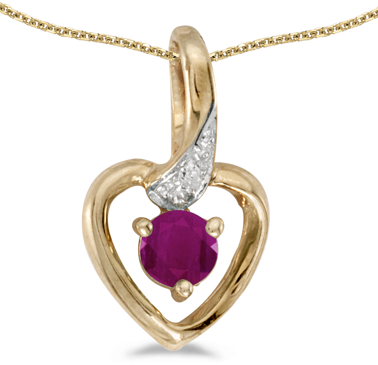 14k Yellow Gold Round Ruby And Diamond Heart Pendant (Chain NOT included)